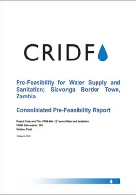 Water Supply and Sanitation; Siavonga Border Town, Zambia: Consolidated Pre‑Feasibility Report thumbnail