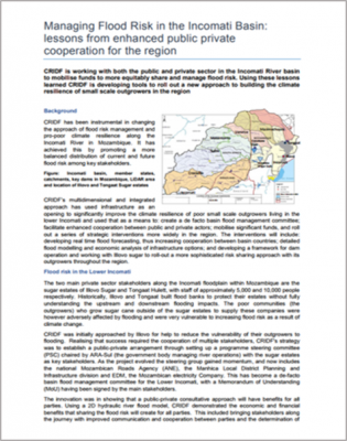 Managing Flood Risk in the Incomati Basin: lessons from the enhanced public private cooperation for the region thumbnail